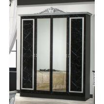 DI Marwa 6-ajtós szekrény, 2 tükrös ajtóval - fekete-ezüst