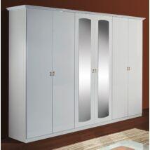 DI Paola 6-ajtós szekrény, 2 tükrös ajtóval - fehér