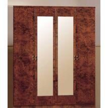DI Rosa 4-ajtós szekrény, 2 tükrös ajtóval - dió