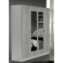 DI Safa 4-ajtós szekrény, 2 tükrös ajtóval - fehér-ezüst