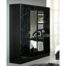 DI Safa 4-ajtós szekrény, 2 tükrös ajtóval - fekete-ezüst