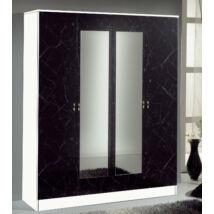 DI Salma 4-ajtós szekrény, 2 tükrös ajtóval - fekete-ezüst