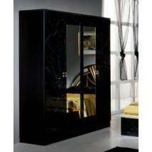 DI Salma 4-ajtós szekrény, 2 tükrös ajtóval - fekete