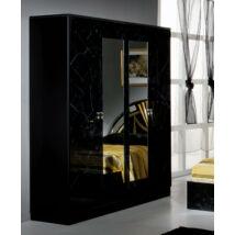 4-ajtós szekrény, 2 tükrös ajtóval - fekete