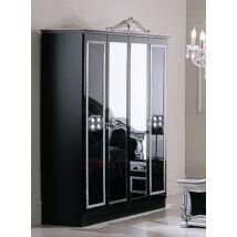 DI Sara 4-ajtós szekrény, 2 tükrös ajtóval - fekete-ezüst