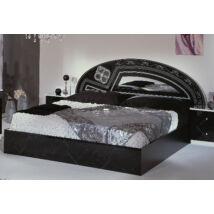 DI Salwa Franciaágy keret 2 éjjeliszekrénnyel - 180 cm, fekete-ezüst