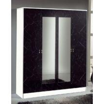 DI Salwa 4-ajtós szekrény, 2 tükrös ajtóval - fekete-ezüst