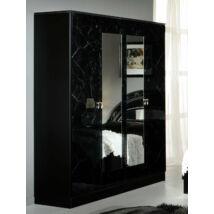 DI Salwa 4-ajtós szekrény, 2 tükrös ajtóval - fekete