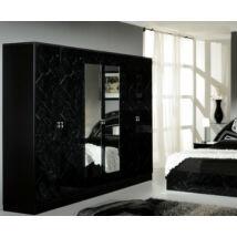 DI Salwa 6-ajtós szekrény, 2 tükrös ajtóval - fekete