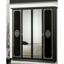 DI Vera 4-ajtós szekrény, 2 tükrös ajtóval - fekete-ezüst