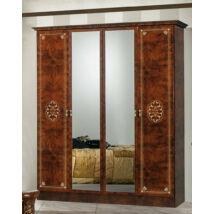 DI Vera 4-ajtós szekrény, 2 tükrös ajtóval - dió