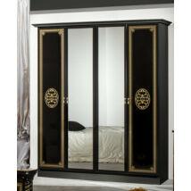 DI Vera 4-ajtós szekrény, 2 tükrös ajtóval - fekete-arany