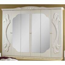 H2 Gina 6-ajtós szekrény, 4 tükrös ajtóval - fehér