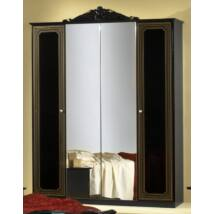 H2 Stella 4-ajtós szekrény, 2 tükrös ajtóval - fekete-arany