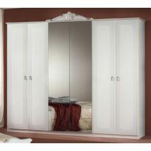 H2 Stella 6-ajtós szekrény, 2 tükrös ajtóval - fehér-ezüst