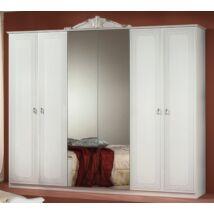 6-ajtós szekrény, 2 tükrös ajtóval - fehér-ezüst