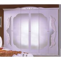 H2 Vanity 6-ajtós tükrös szekrény - fehér