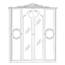 Barocco ruhásszekrény 4a - fehér-arany