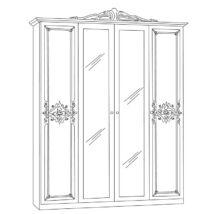 Luisa szekrény 4a - fehér-ezüst