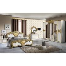 Eva klasszikus olasz stílusú hálószoba garnitúra, fehér-arany színben