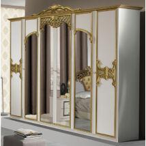 Eva ruhásszekrény 6a - fehér-arany