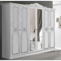 Luisa ruhásszekrény 6a - fehér-ezüst
