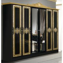 Luisa ruhásszekrény 6a - fekete-arany