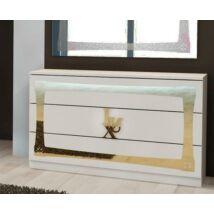 Lux fiókos komód - fehér-arany
