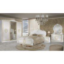 Vilma klasszikus olasz stílusú hálószoba garnitúra, fehér-arany színben