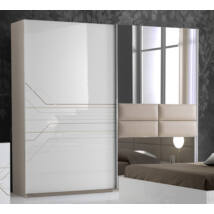 Tijana ruhásszekrény 2 tolóajtós 220 cm - fehér-bézs
