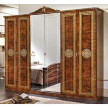 Alexandra 6-ajtós szekrény, 2 tükrös ajtóval - dió