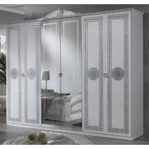 Alexandra 6-ajtós szekrény, 2 tükrös ajtóval - fehér