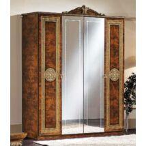 Alexandra 4-ajtós szekrény, 2 tükrös ajtóval - dió