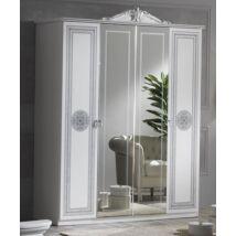 Alexandra 4-ajtós szekrény, 2 tükrös ajtóval - fehér