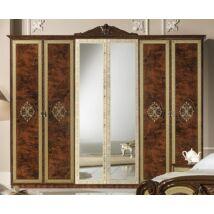 6-ajtós szekrény, 2 tükrös ajtóval - dió