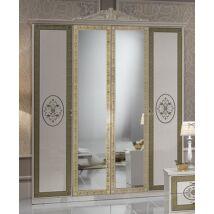 Natalie 6-ajtós szekrény, 2 tükrös ajtóval - bézs