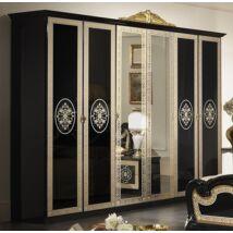 Natalie 6-ajtós szekrény, 2 tükrös ajtóval - fekete