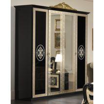 Natalie 4-ajtós szekrény, 2 tükrös ajtóval - fekete