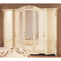 PI Barocco 5-ajtós ruhásszekrény, 3 tükrös ajtóval