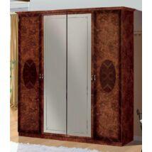 Florence 4-ajtós szekrény, 2 tükrös ajtóval - dió