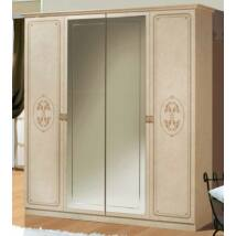 Florence 4-ajtós szekrény, 2 tükrös ajtóval - bézs