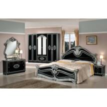 TL Amalfi hálószoba - fekete-ezüst 160x200 cm ággyal, 6-ajtós szekrénnyel