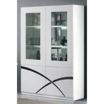 Milano Day 2-ajtós vitrines szekrény LED világítással - fehér