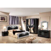 TL Roma hálószoba - fekete-ezüst 160x200 cm ággyal, 4-ajtós szekrénnyel