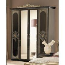 TM Alice 4-ajtós szekrény, 2 tükrös ajtóval - fekete-arany