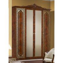 TM Elena 4-ajtós szekrény, 2 tükrös ajtóval - dió