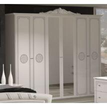 TM Greta 6-ajtós szekrény, 2 tükrös ajtóval - fehér