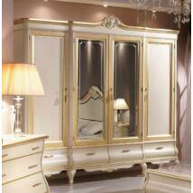 Tulipano 4-ajtós ruhásszekrény, 2 tükrös ajtóval, 4 fiókkal