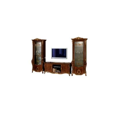 TV tartó komód + 2x 1-ajtós vitrines szekrény, díszkoronával