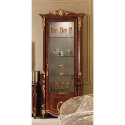 1-ajtós vitrines szekrény, díszkoronával